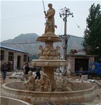 Yellow Limestone Pool Fountain Garden Fountains