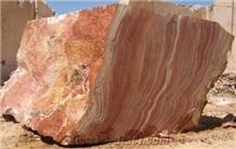 Red Kalzard Travertine Block, Persian Red Travertine Block