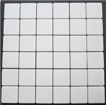 Thassos Marble Mosaic, White Marble Tumbled Mosaic