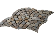 Rustic Brown Multi Color Slate Meshed Paving Stone