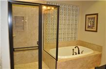 Lemon Travertine Bathroom Design, Tile and Slab