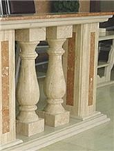 Marble sculpture, columns, balustrades
