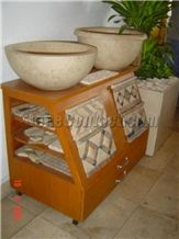 Mexican Travertine basins, sinks, moldings