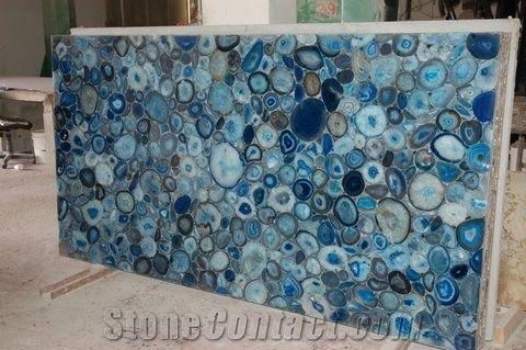 Semi Precious Stone Slabs Blue Agate Slab