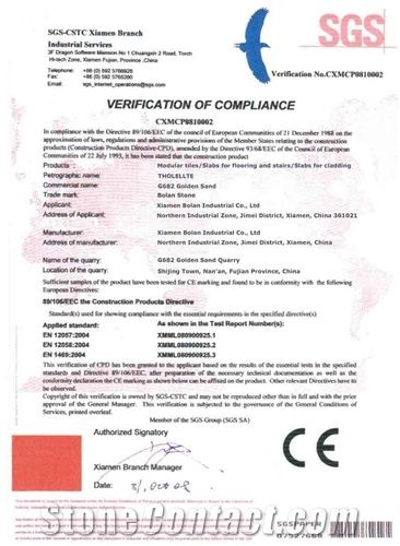 CE certificate for G682 Granite