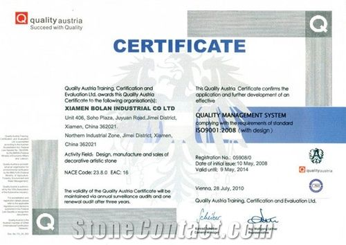 Certificate of Quality Management System ISO9001:2