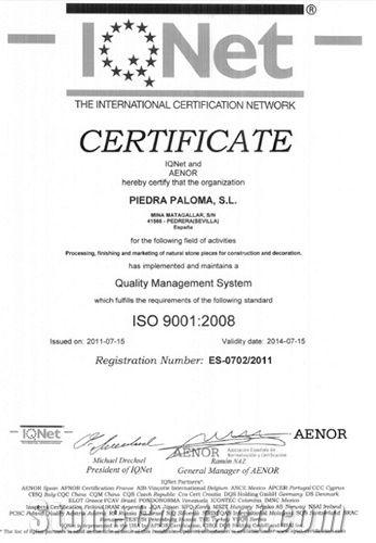 Certificate IQNet 9001