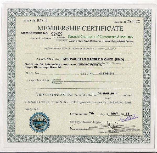 Karachi Chember Membership