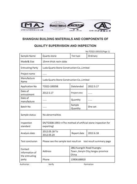 Luda Quartz Stone Test Reports