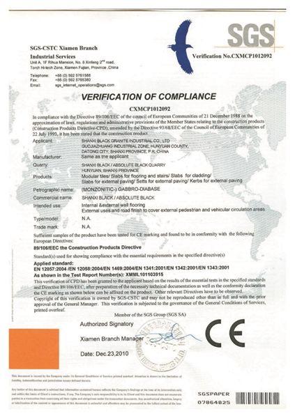 CE certificate of Shanxi Black Granite