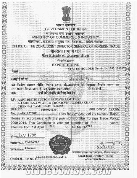 EXPORT HOUSE Status Holder Certificate