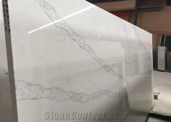 Arftificial Bianco Calacatta Quartz Stone Slabs Jumbo