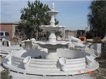 Fargo Fangshan White Marble Sculptured Fountains, Chinese White Marble Exterior Garden Fountains
