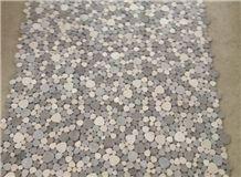 Moon Stone Mosaic, White Limestone+Athens Wooden+Wooden Blue+Crema Marfil Marble Mosaic
