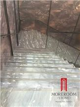 Foshan Marble Factory Turkey Quarry Blue Gray Marble Staircase for Hotel Design