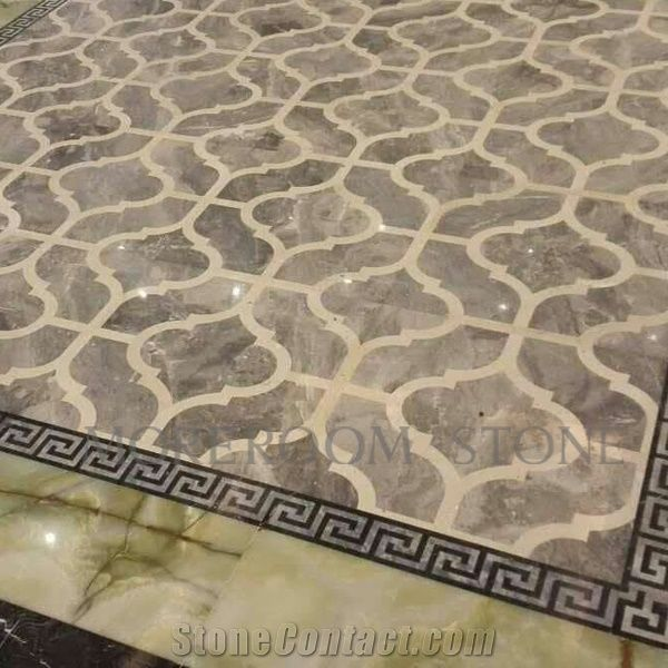 Italy Marble Price Polished Grey Marble Tiles Water Jet