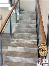 Moreroom Stone Morden Design Grey Marble Stair Grill Design