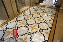 Turkey Gray Emperedor Marble Watejet Medallion Floor Tile for Elevator Lobby
