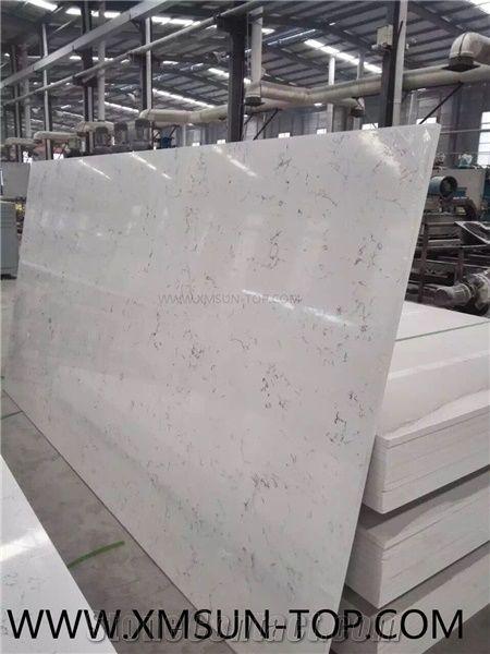 Carrara White Quartz Stone Slabs Tiles Engineered Stone