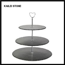 Xingzi Black Slate 3 Tier Round Design with Gold Carrying Handle 1m Height 100% Natural Slate Serving Candies, Dessert, Bread, Fruit, Candy Tray Board
