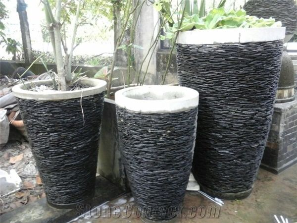 Stacked Stone Slate Pots, Black Slate Natural Garden Planters   Pebble  Water Fountain, Grey Slate Fountain