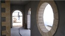 Coral Stone Arches and Window Circles, Dominican White Coral Stone Window Frame
