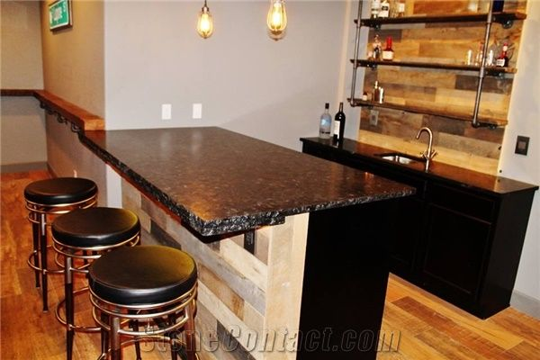 Antique Brown Leathered Laminated Chiseled Edge Granite