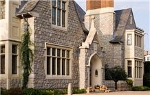 Indiana Limestone Door Arches and Window Frame and Hampton Blend Veneer Wall