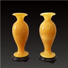 China Yellow Onyx Artifacts & Handcrafts-Bottle