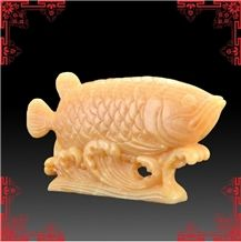 China Yellow Onyx Artifacts & Handcrafts-Fish Fish Complacent