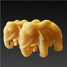 China Yellow Onyx Artifacts & Handcrafts-Lucky Elephant