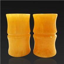 China Yellow Onyx Brush Pot, Artifacts & Handcrafts