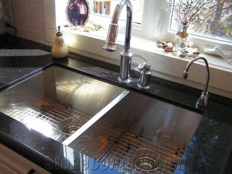 Black Galaxy Granite Kitchen Countertop With A Square Sink