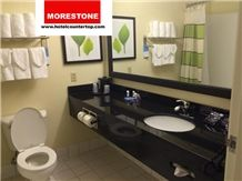 Granite Absolute Black Hotel Vanitytop with White Ceramic Sink