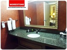 Granite Countertop Wood Vanity Porcelain Sink and Faucet for Hotel Renovation