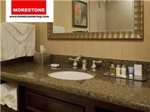Granite Tropical Brown Bathroom Vanity Countertop for Double Tree Hotel, Made in China