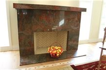 Brazil Exotic Red Hollywood Granite Fireplace Surround