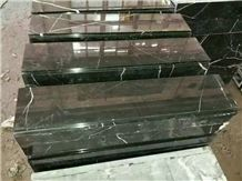 China Marquina Marble Steps,Polished Guangxi Nero Marble Stair Treads,Night Sky Broken Black Marble Staircase & Stair Riser,White Line Black Marble Stair