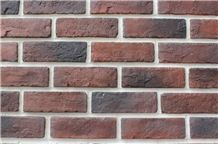 Classic Red with Black Color Man Made Bricks,Artificial Manufactured Stone Veneer Bricks,Cheap Faux Stone Veneer Walling Tiles for School Outdoor Wall Decor