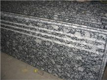 Guangdong Silver Grey Granite Steps,Sea Wave Flower Granite Stair Treads,Polished Wave Flower Granite Staircase with Stair Riser,Non-Slip Sea Wave Flower Granite Stair