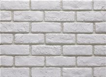 Pure White Artificial Building Tiles, Cultured Brick Stone Veneer,Cheap Price Quality Fake Stone Veneer Wall Facing Bricks,Manufactured Stone Bricks for Indoor Coffee Stores Wall Decor