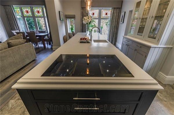 Unistone Solid Surface Crema Marfil Kitchen Countertop