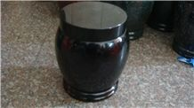 China Black Granite Memorial Funeral Accessories Urns for Ashes, Cemetery Natural Stone Crematorium Cinerary Casket, Cremation Round Urns, Monumental Urns, Urn Vaults