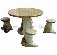 China G682 Yellow Rusty Granite Garden Bench Tables, Exterior Stone Benches Street Furniture, Garden Sculptured Table Sets, Outdoor Landscaping Stones Park Chairs
