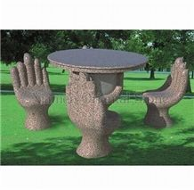 China Golden Diamond Granite Garden Sculptured Bench Tables, Exterior Stone Benches Street Furniture, Outdoor Landscaping Stones Park Chairs, Garden Table Sets