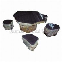 China Jiangxi Black Slate Garden Bench Tables, Exterior Stone Benches Street Furniture, Outdoor Landscaping Stones Park Chairs, Garden Irregular Sculptured Table Sets