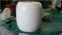 China White Marble Memorial Funeral Crematorium Accessories Urns for Ashes, Natural Stone Cinerary Casket for Cemetery,Cremation Round Urns, Monumental Urns, Urn Vaults