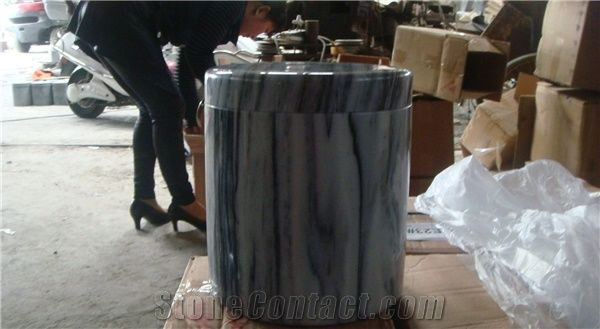 China White Onicciato Marble Memorial Accessories Funeral Urns for
