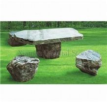 China Yongchun Green Granite Garden Bench Tables, Exterior Stone Benches Street Furniture, Garden Sculptured Table Sets, Outdoor Landscaping Stones Park Chairs