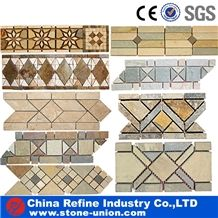 China Hot Sale Marble Mosaic Border Line,Marble Mosaic Flower Pattern Border Designs,Wave Pattern Marble Mosaic,Flower Pattern Mosaic Border